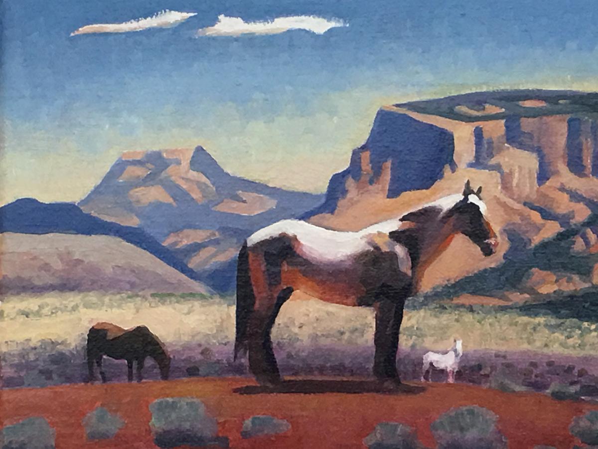 "Gary Ernest Smith ""Wild-Horses"" 8""x10"" Oil"
