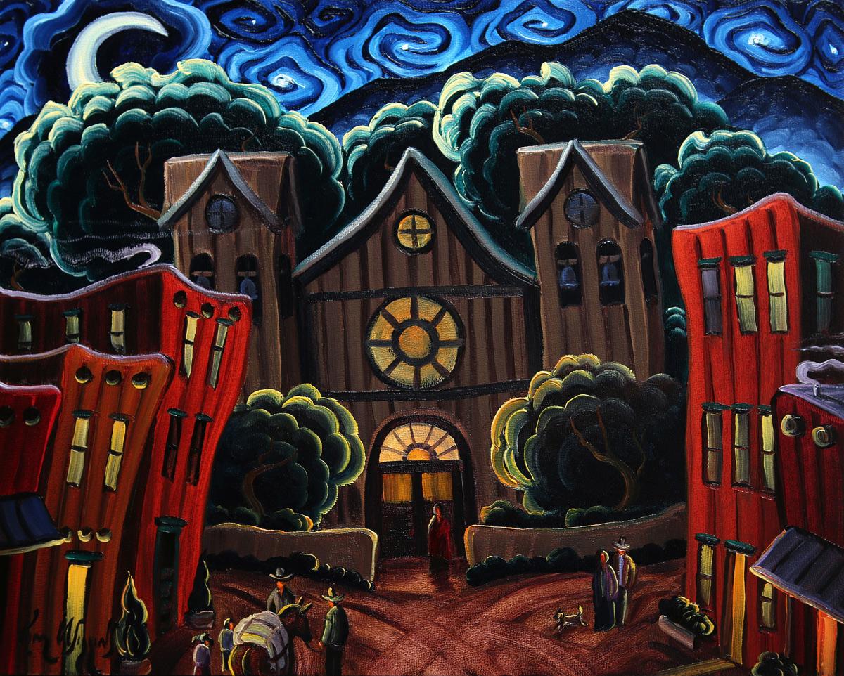 """Kim Wiggin """"Santa Fe Night"""" 8""""x10"""" Oil"""
