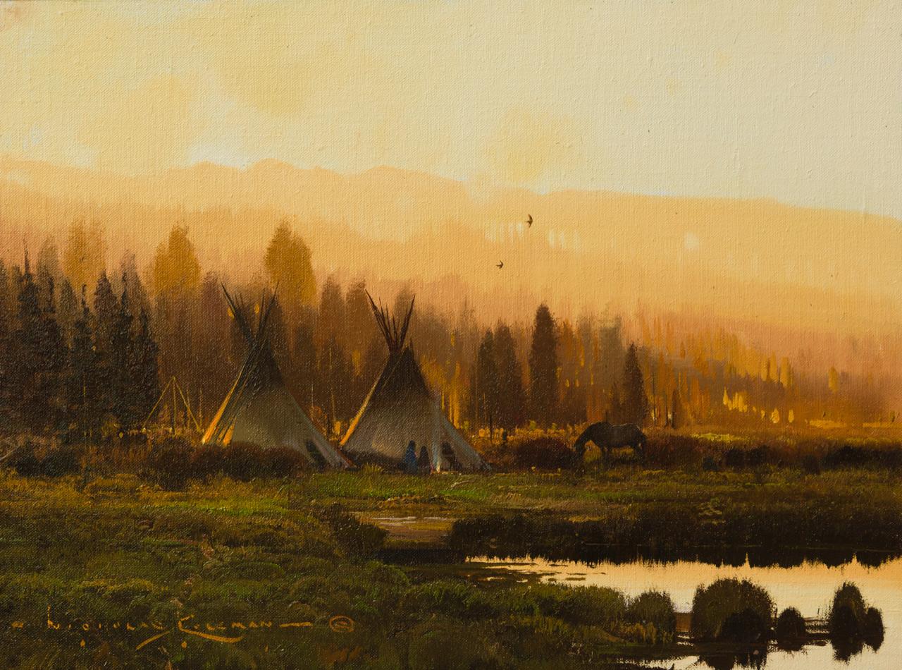 """Nicholas Coleman """"Dusk on the Milk River"""" 12""""x16"""" Oil"""