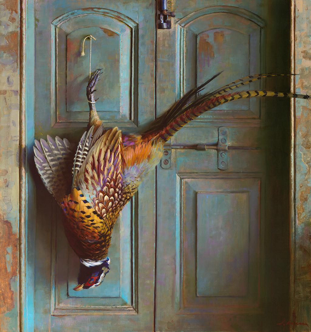 "Jeffrey T. Larson ""Pheasant on Blue Door"" 48""x32"" Oil"