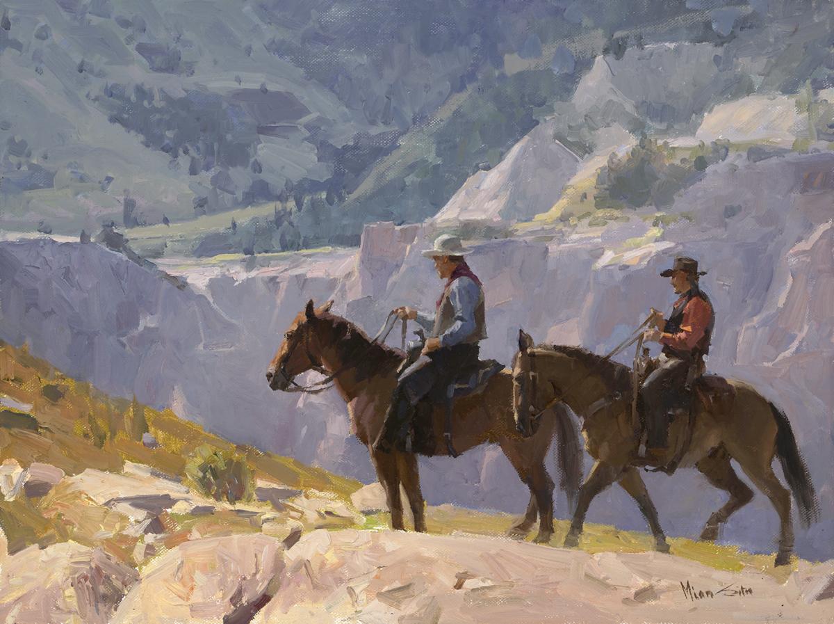 """Mian Situ """"Ridge Riders"""" 12""""x16"""" Oil"""