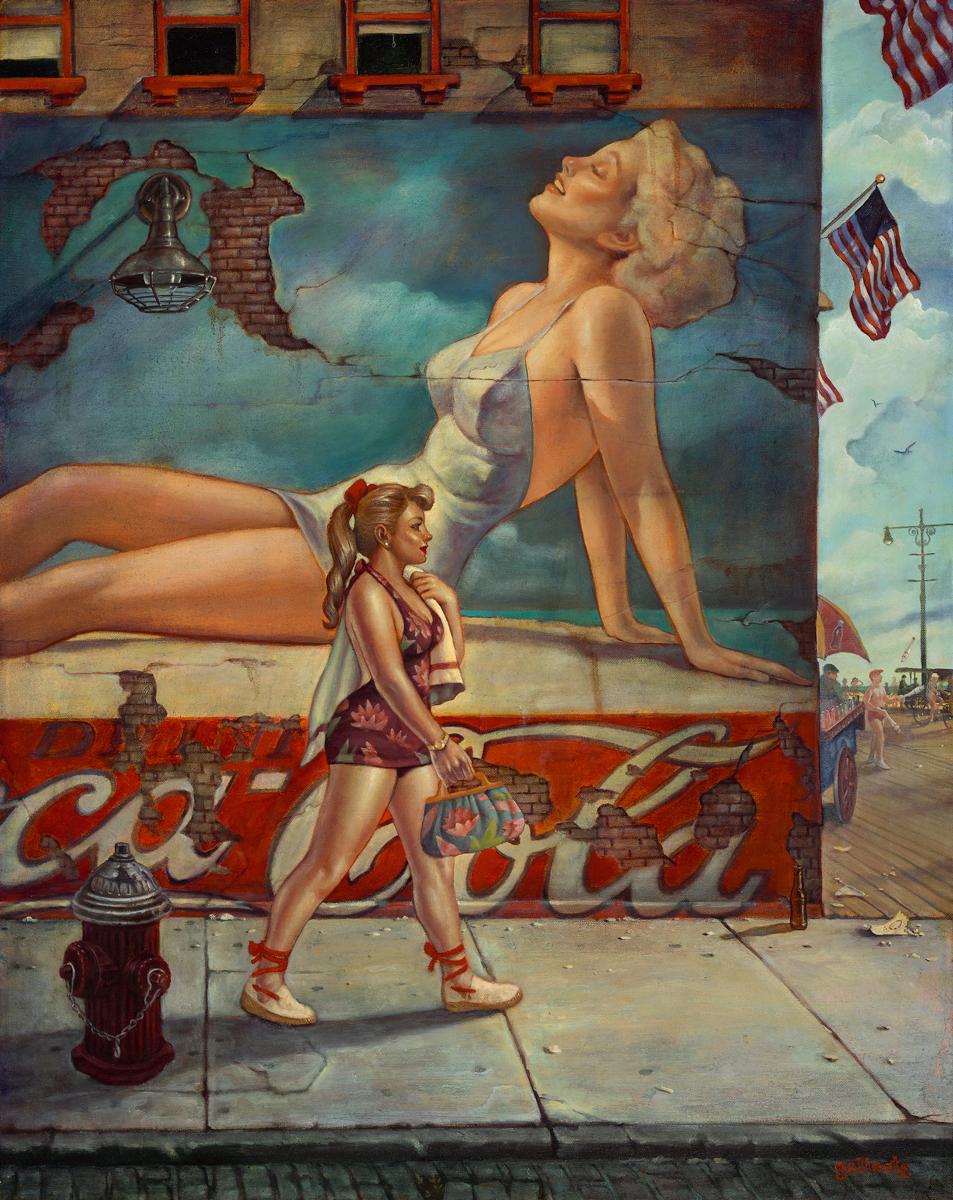 """""""Boardwalk Beauty"""" 34""""x27"""" Oil"""