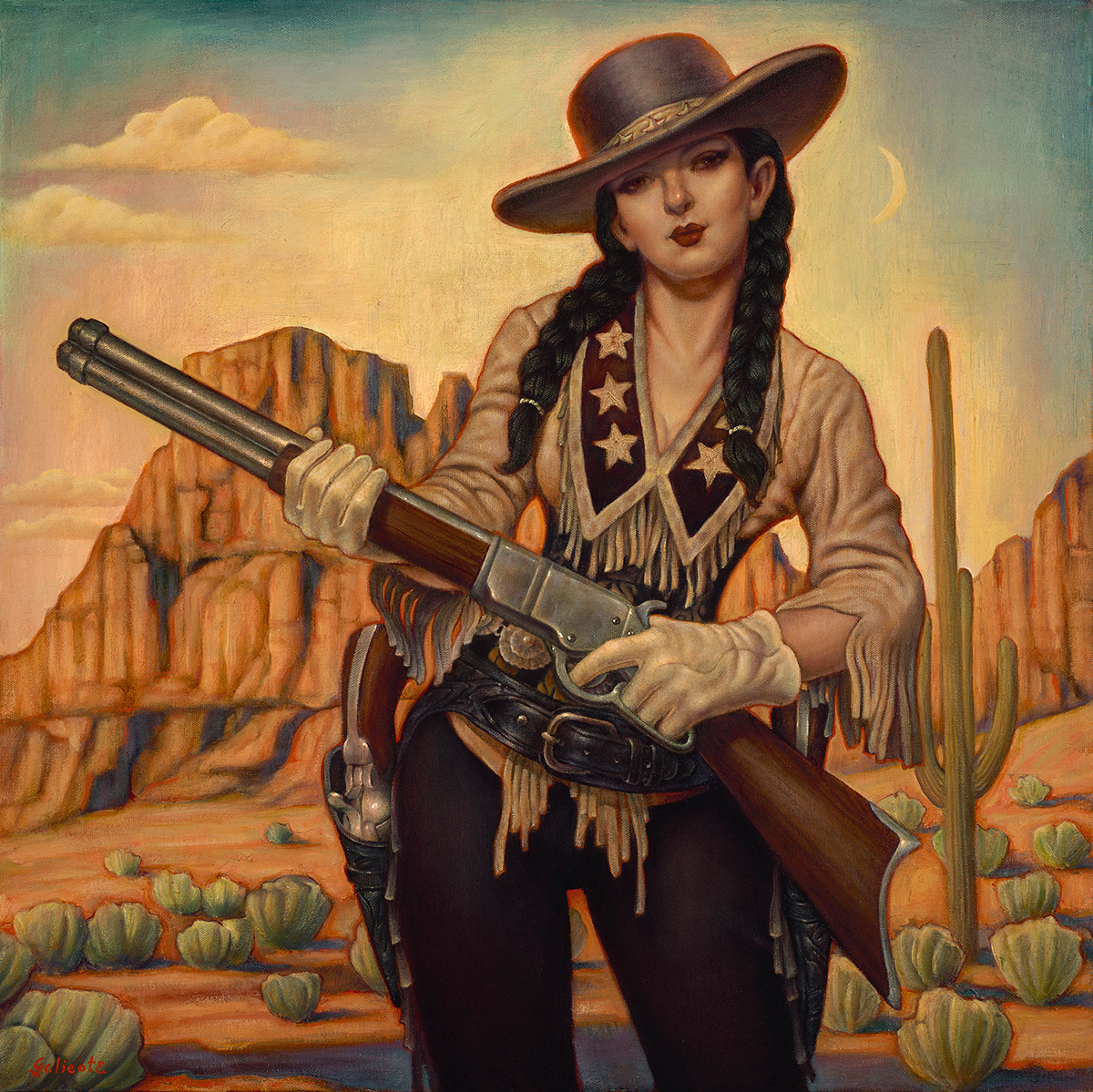 """""""New Sheriff in Town"""" 24""""x24"""" Oil"""