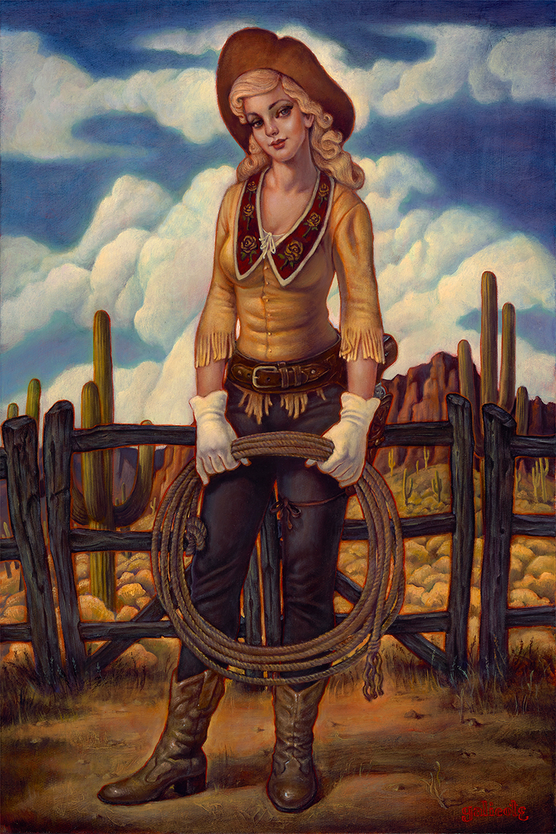 """(SOLD) """"The Round Up"""" 24""""x16"""" Oil"""