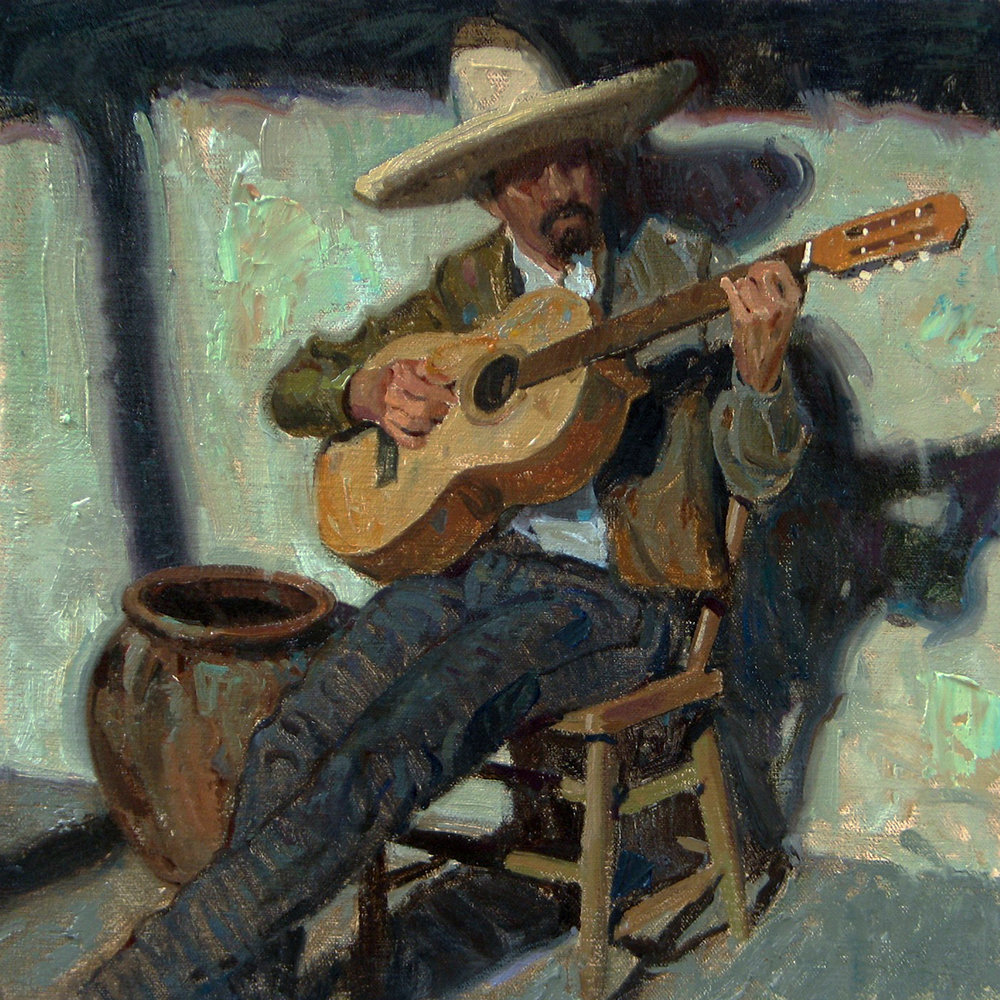 "(SOLD) ""Porch Music"" Oil 12""x12"""