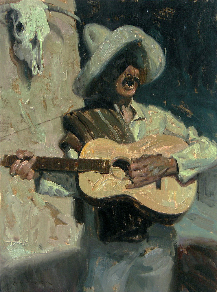 "(SOLD) ""Spanish Minstrel"" 16""x12"" Oil"
