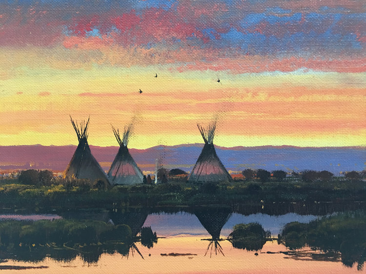 "(SOLD) ""Spring Camp at Dusk"" 9""x12"" Oil"