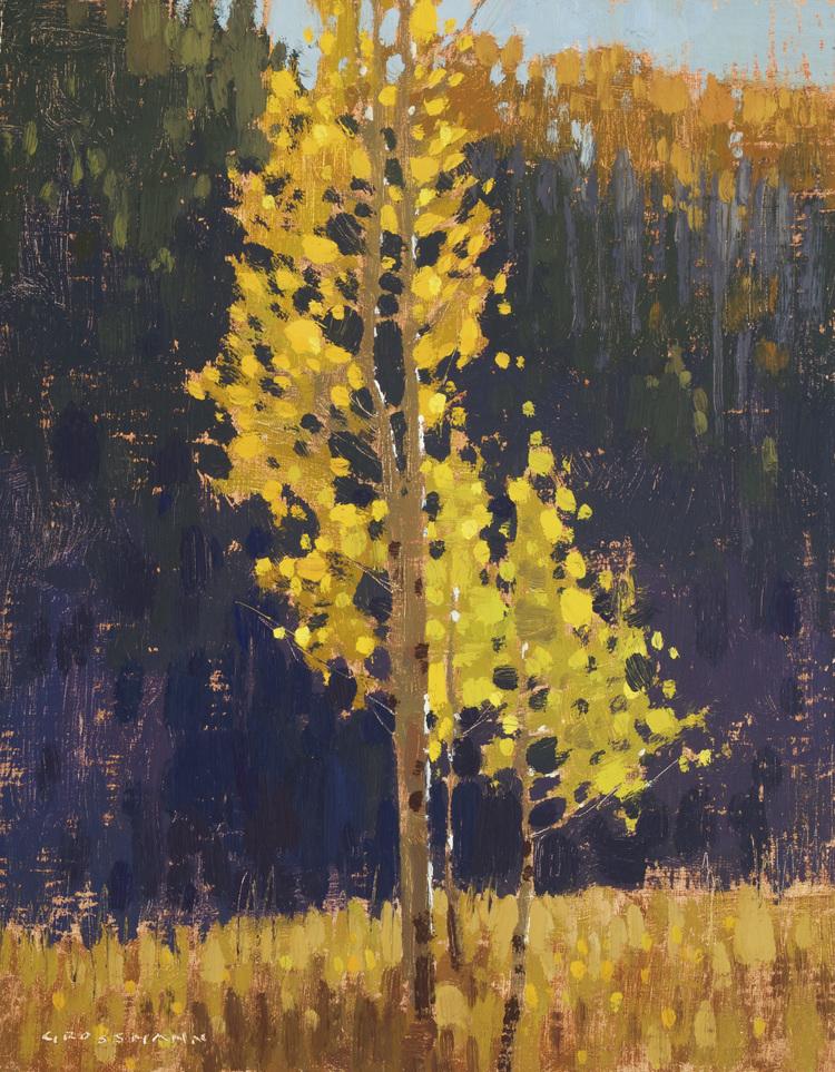 """(SOLD) """"Illuminated Autumn Leaves"""" Oil 10"""" x 8"""""""