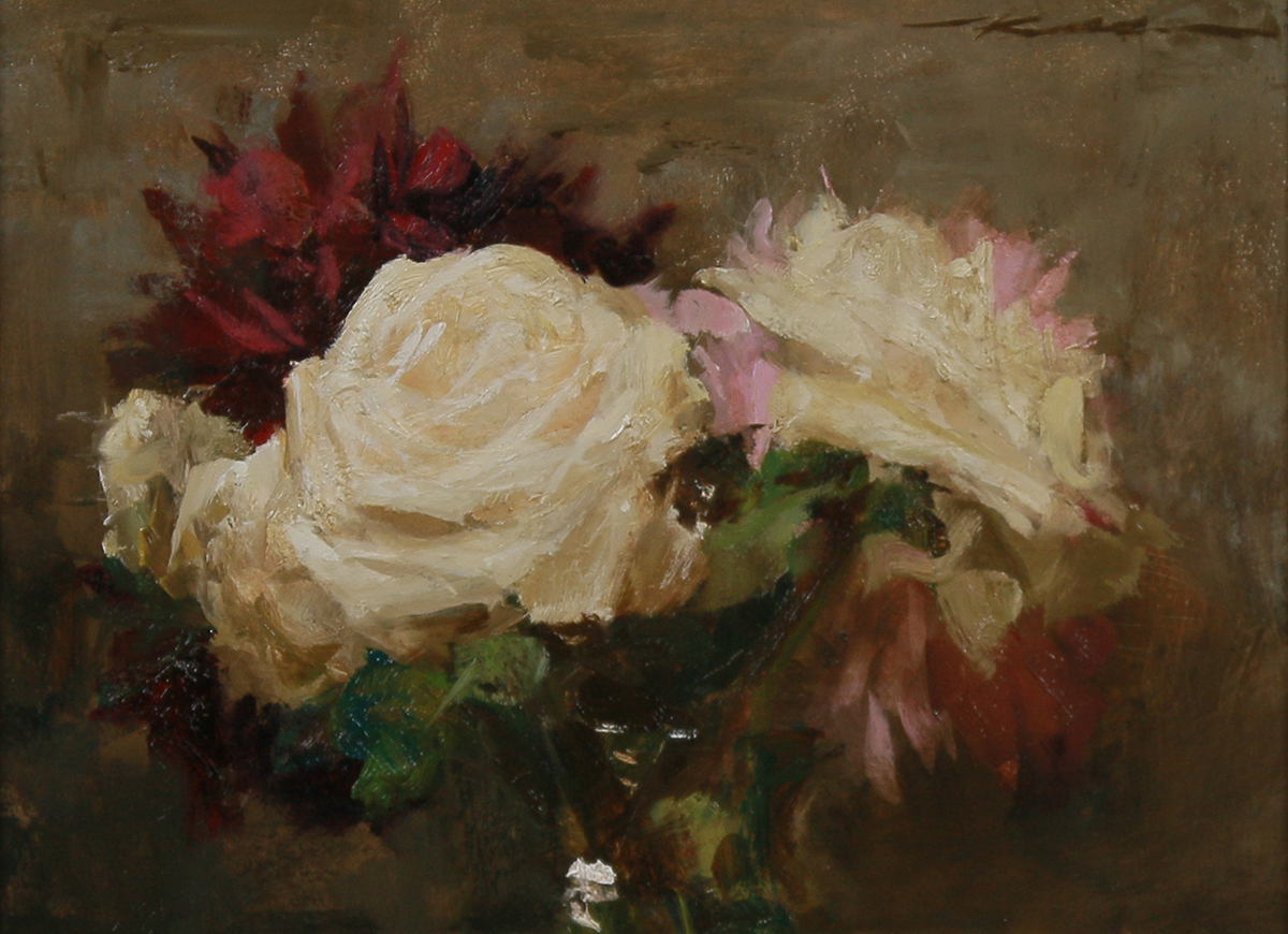 """""""Bouquet W/ Roses & Peonies"""" 9""""x12"""" Oil"""