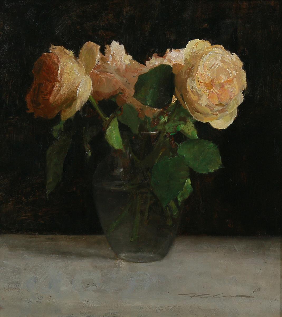 """(SOLD) """"Garden Roses"""" 15""""x13"""" Oil"""