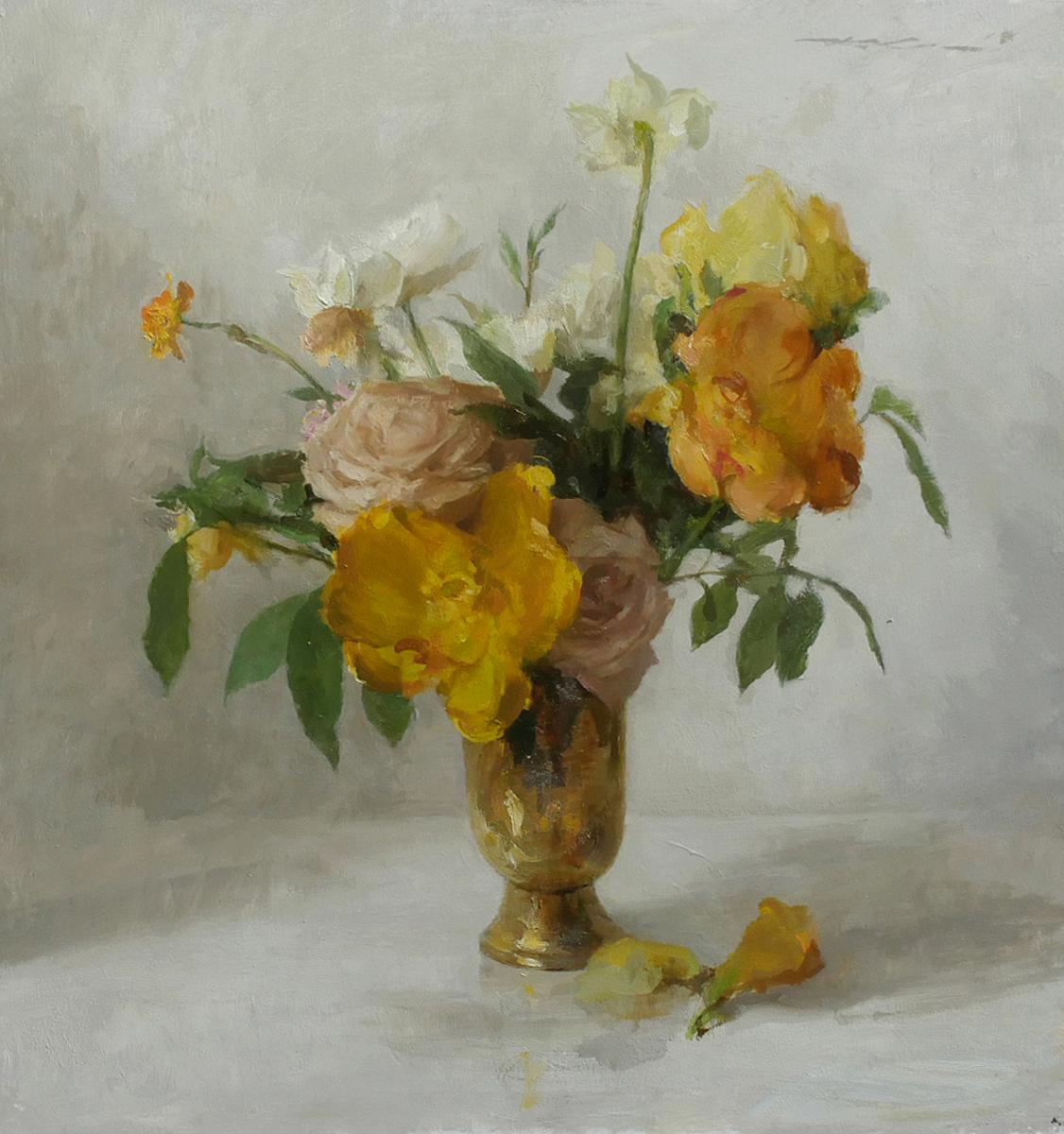 """""""Gold Bouquet"""" 19""""x18"""" Oil"""