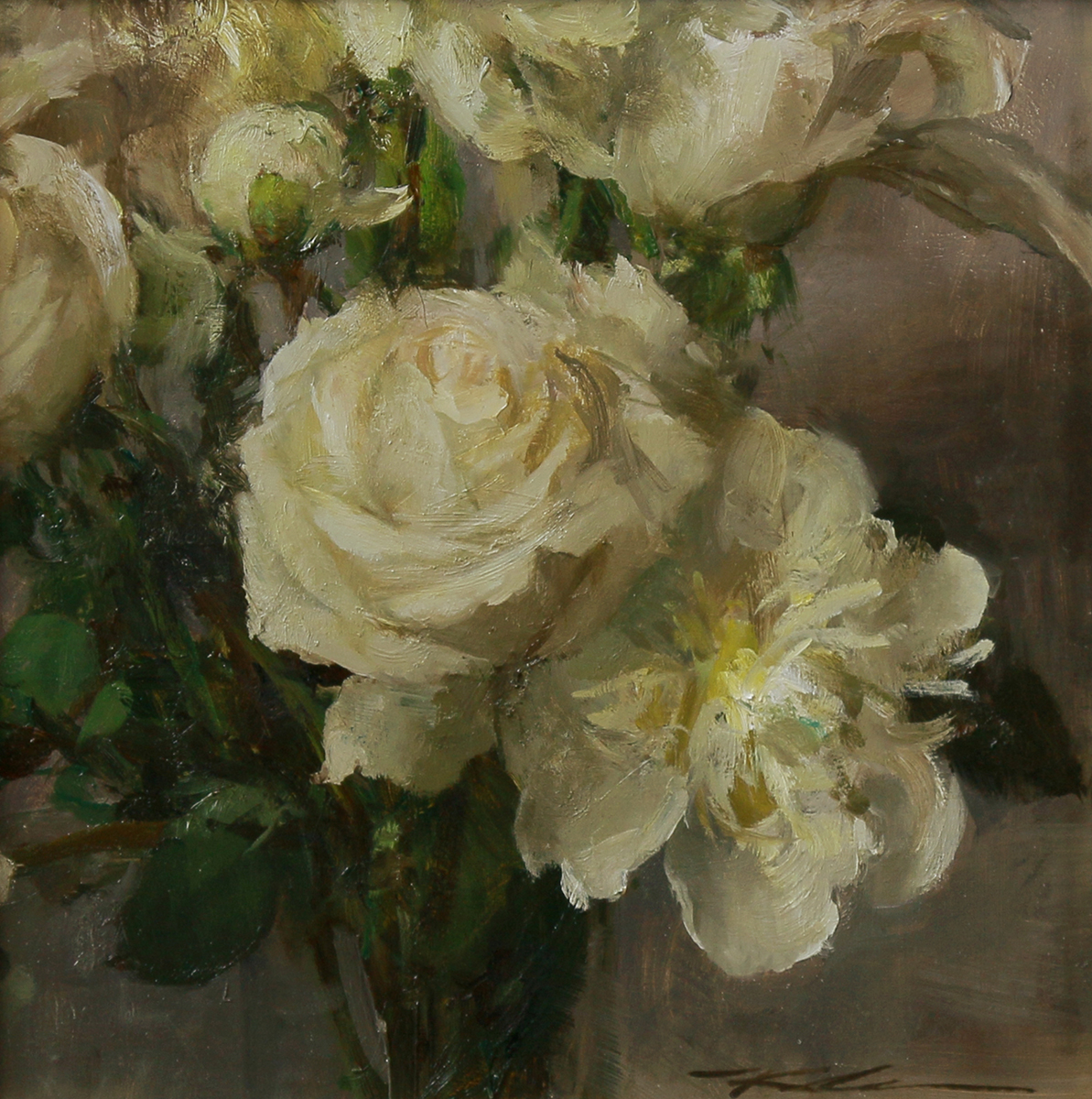 "(SOLD) ""White Bouquet"" 11""x11"" Oil"