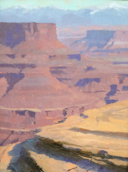 "(SOLD) ""Red Canyon Erosion"" 8″x6″ Oil"