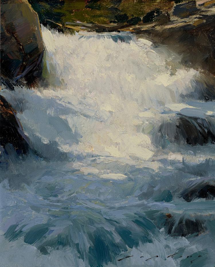 """(SOLD) """"Sierra Falls"""" 10″x8″ Oil"""