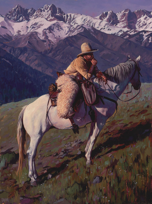 """(SOLD) """"A Long Day on the Range"""" 24""""x18"""" Oil"""