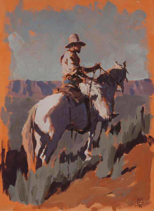 """(SOLD) """"Up in Wyoming"""" 10""""x8"""" Gouache"""