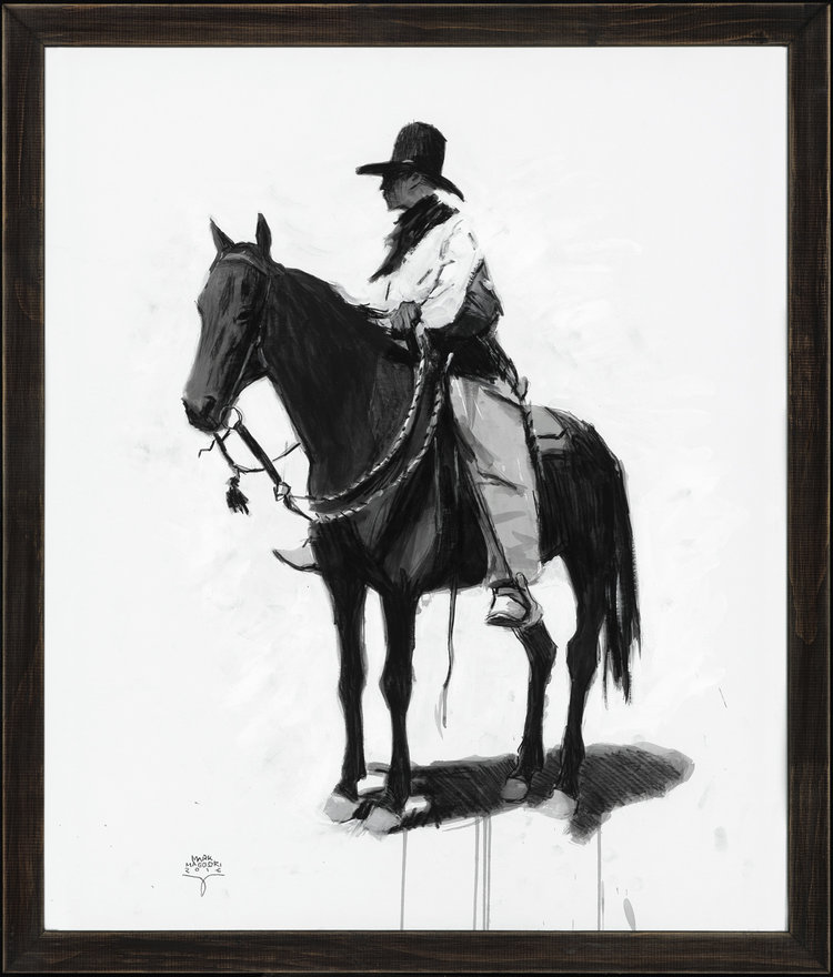 """(SOLD) """"Cowboy Resting"""" Ink & Charcoal 24""""x18"""""""