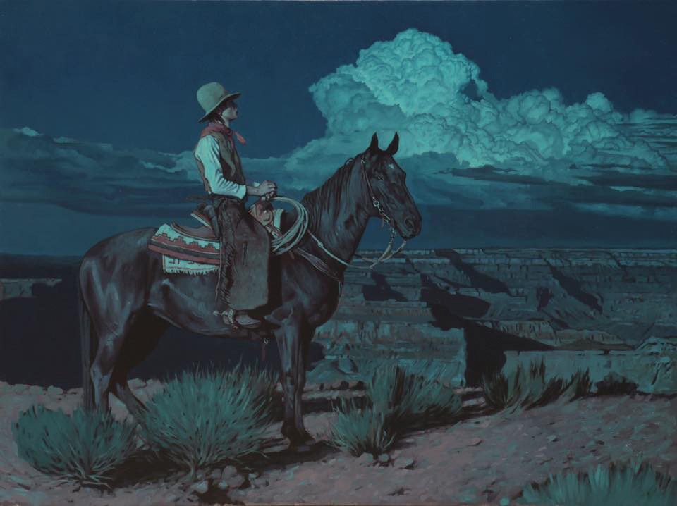 "(SOLD) ""Cowboy at Hopi Point"" 30″x40″ Oil"