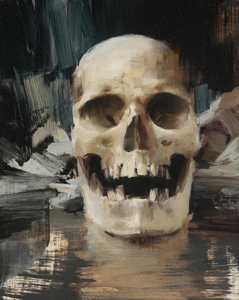 "(SOLD) ""Skull"" 10″x8″ Oil"