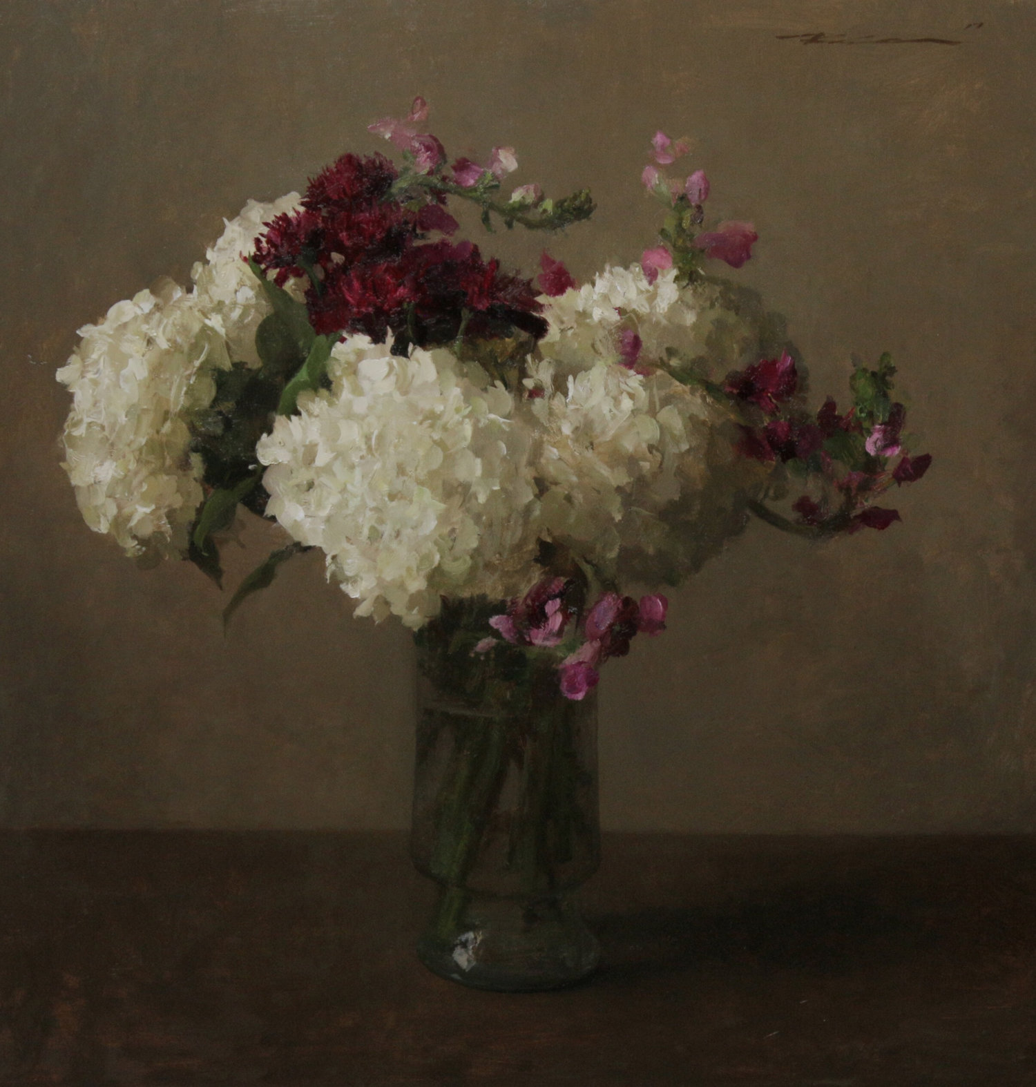 """(SOLD) """"Hydrangeas and Snapdragons"""" 24""""x25"""" Oil"""