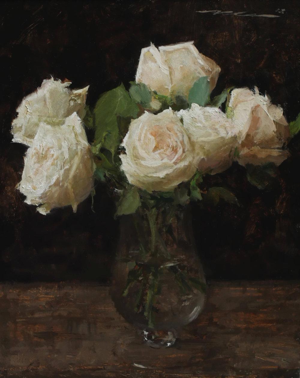"""(SOLD) """"Garden Roses"""" 15""""x12"""" Oil"""
