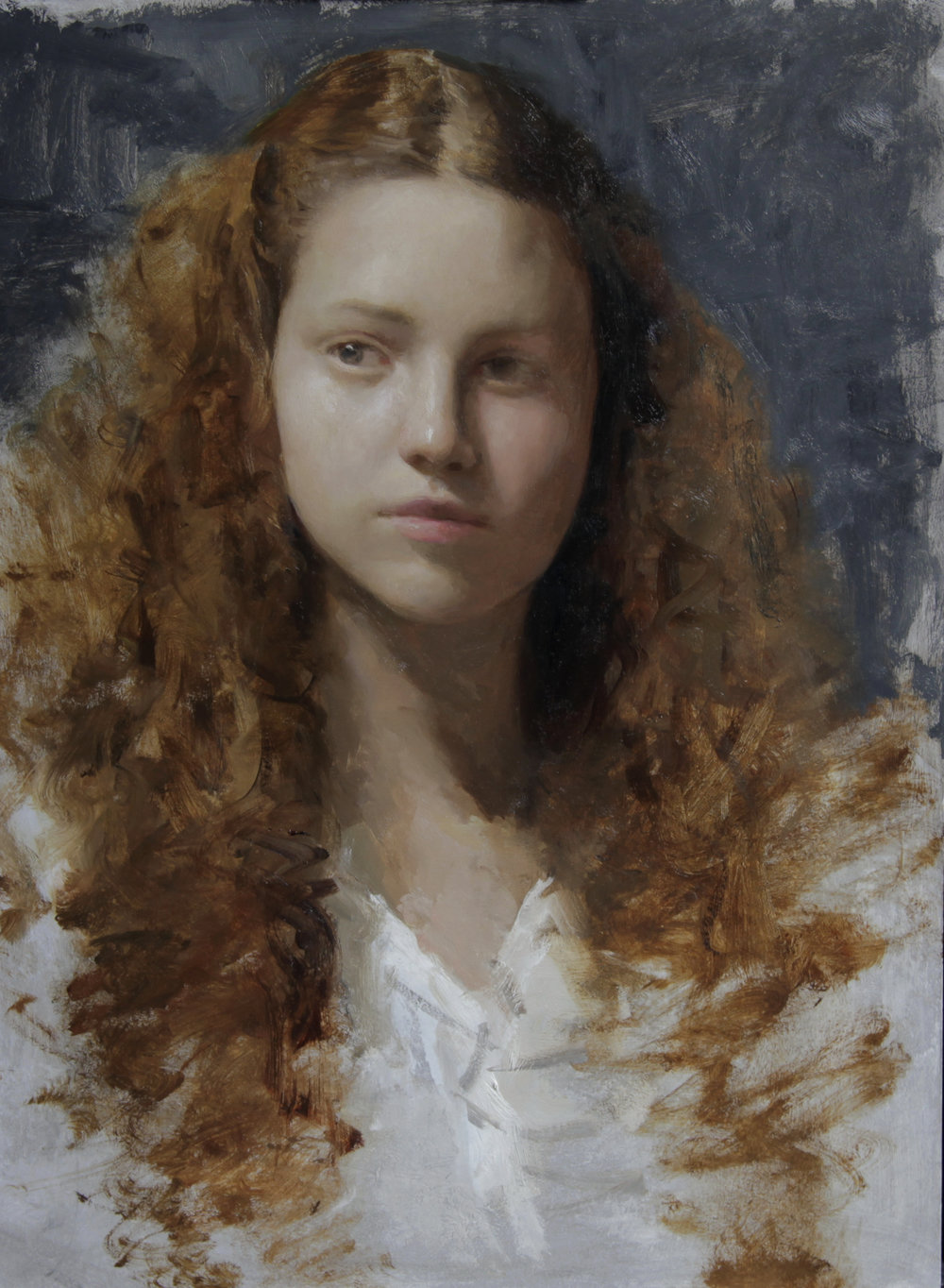 """(SOLD) """"Young Girl"""" 19.25""""x14.5"""" Oil"""