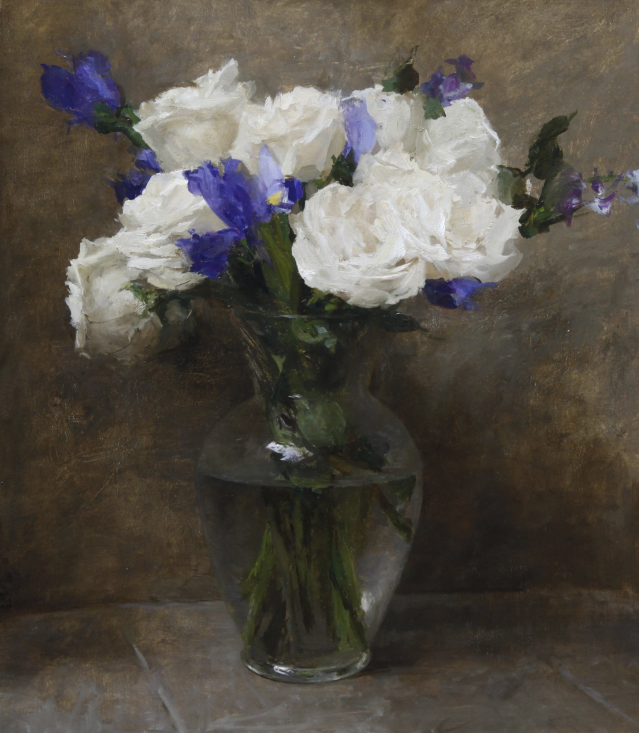 """(SOLD) """"White Roses with Blue Irises"""" 17.5″x15″ Oil"""