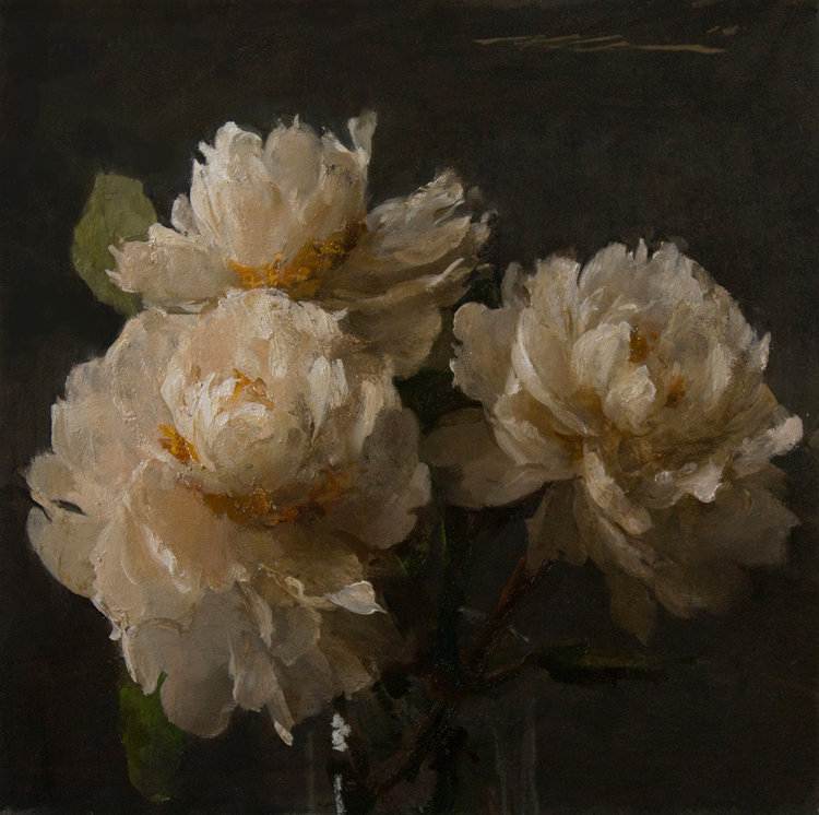 """(SOLD) """"White Peonies"""" 12""""x12"""" Oil"""