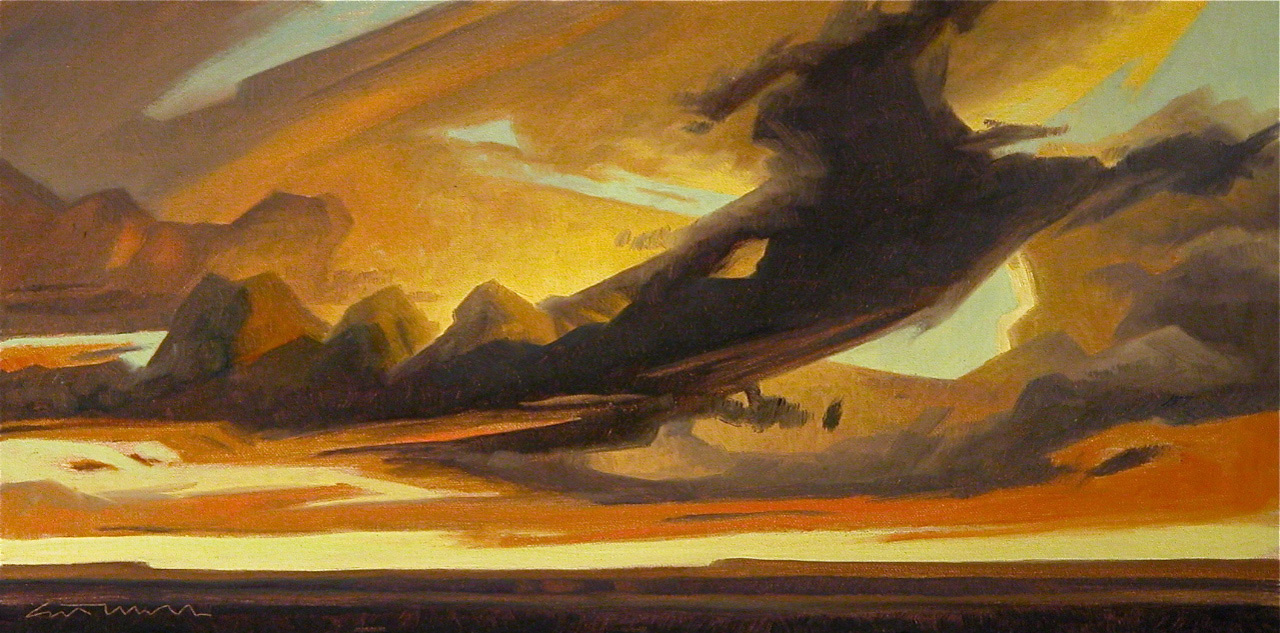 "(SOLD) ""Vastness of Clouds"" 10""×20"" Oil"