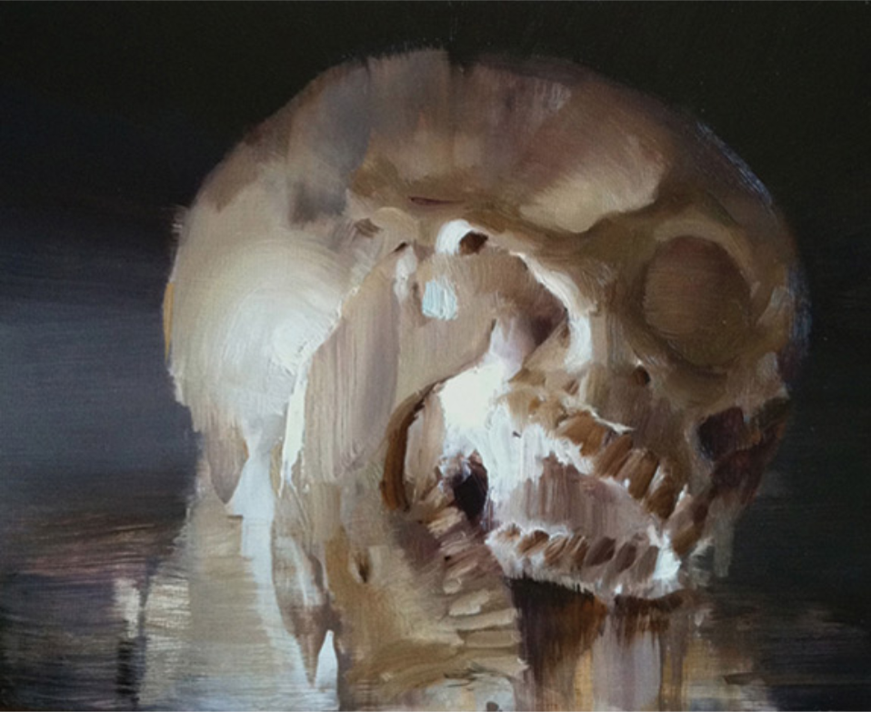 """(SOLD) """"Study of a Skull"""" 8""""x10"""" Oil"""