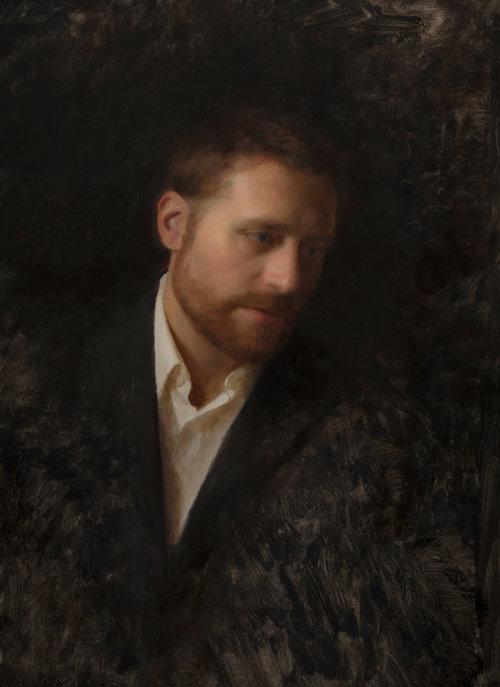 """""""The Flower Painter (Portrait of Michael Klein)"""" 24""""x17"""" Oil"""
