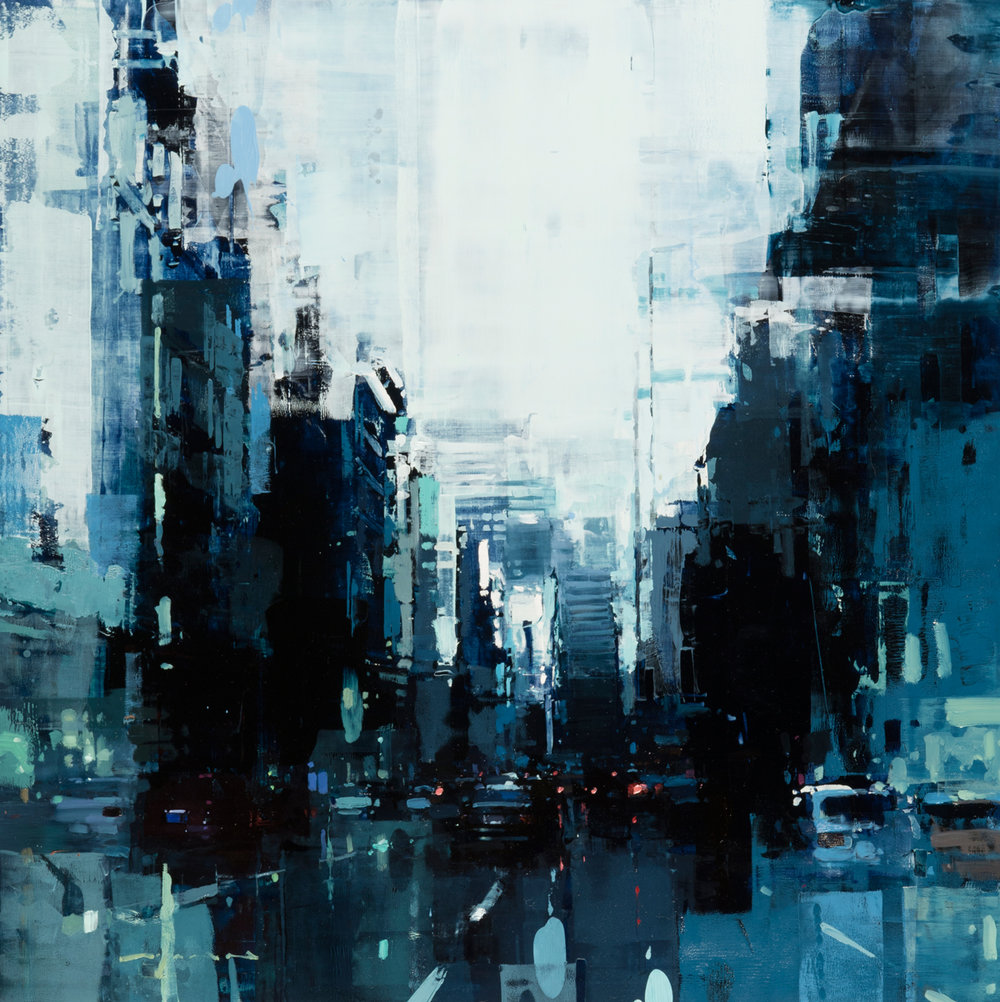 """(SOLD) """"SF Blue and White"""" 24""""x24"""" Oil"""