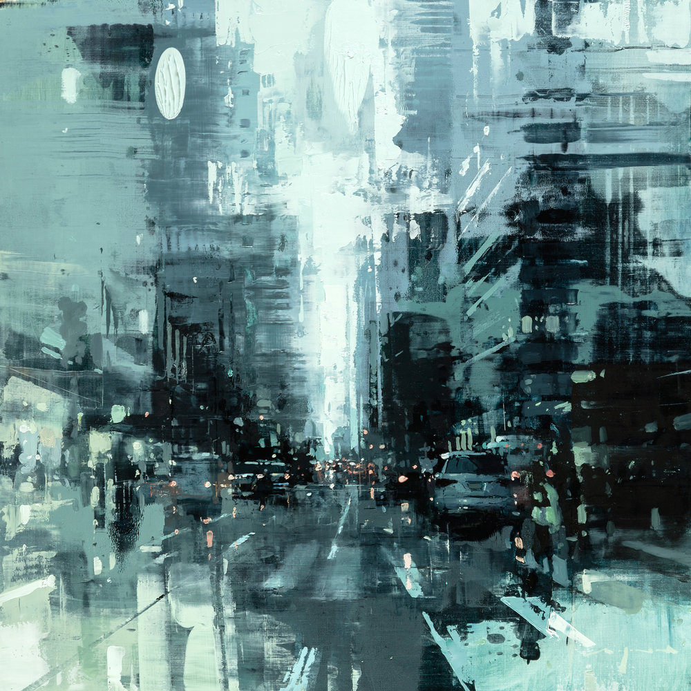 """(SOLD) """"NYC #39"""" 18""""x18"""" Oil"""