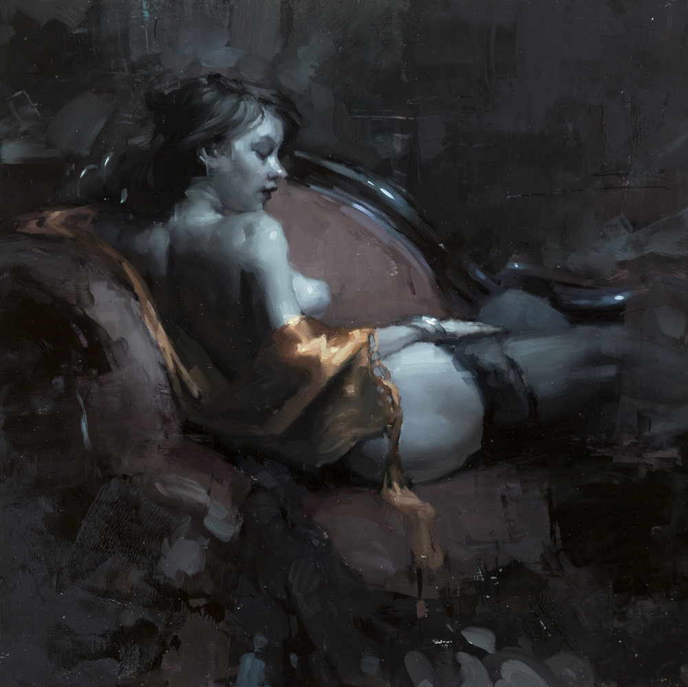"""(SOLD) """"Woman at Rest in Blue"""" 12""""x12"""" Oil"""