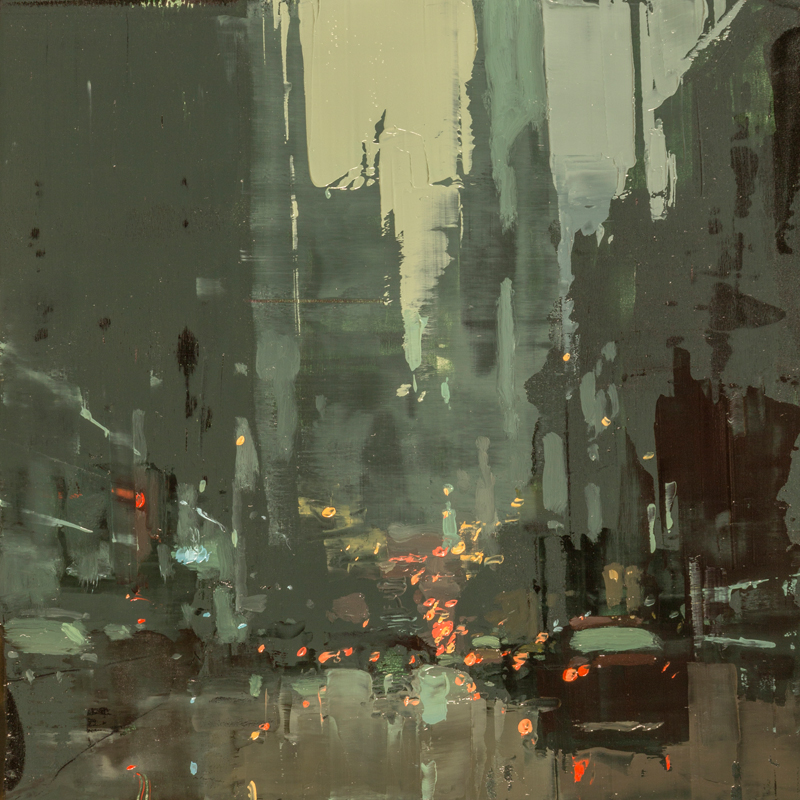 """(SOLD) """"Cityscape Composed Form Study #45"""" 6""""x6"""" Oil"""