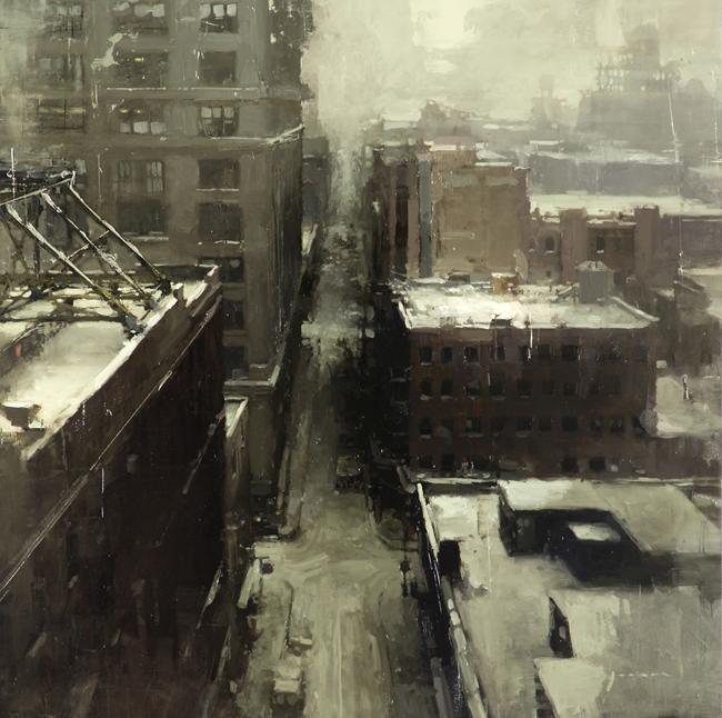 "(SOLD) ""Winter, North Brooklyn"" 20""×20"" Oil"