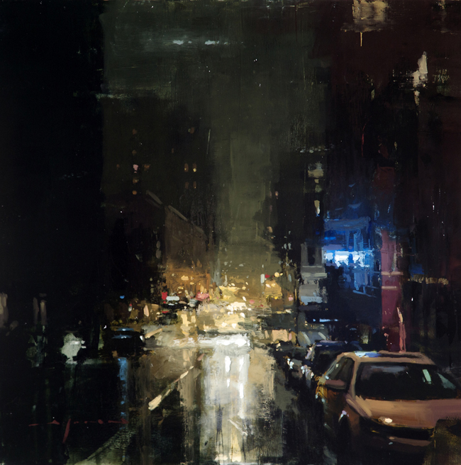 """(SOLD) """"Nocturne and Rain from Bar to Bar"""" 12""""×12"""" Oil"""