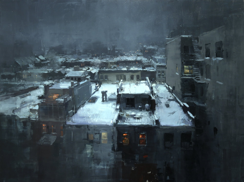 """(SOLD) """"Rooftops in the Snow"""" 18""""×24"""" Oil"""