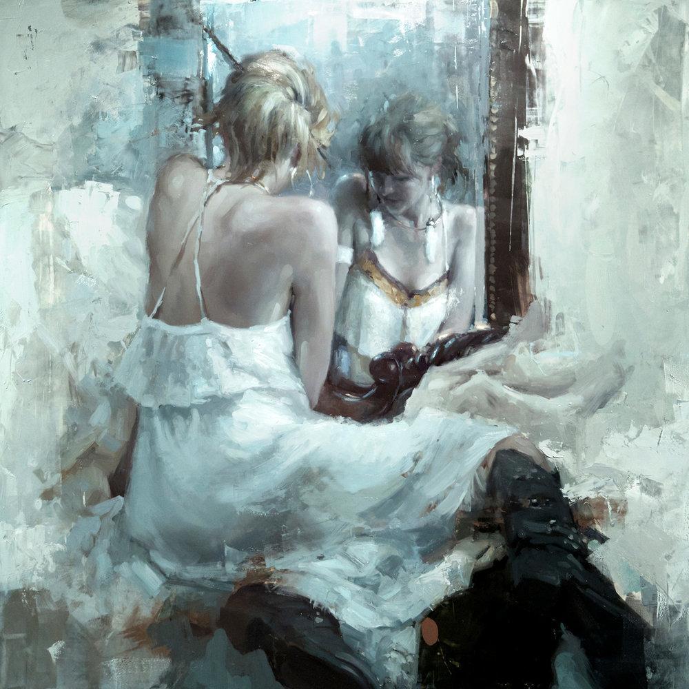 "(SOLD) ""The Mirror in White"" 30""x30"" Oil"