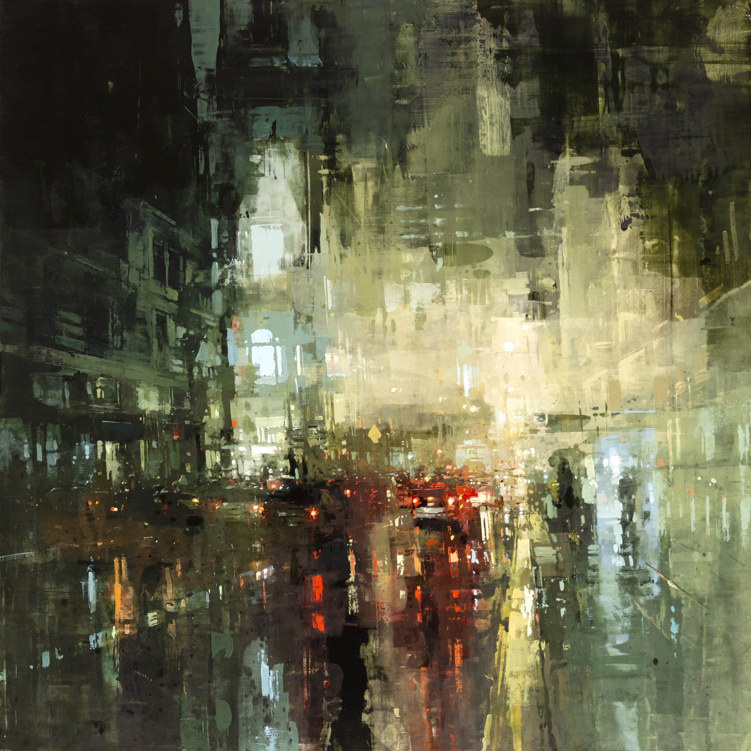 """(SOLD) """"The Downtown Torrent"""" 36""""x36"""" Oil"""