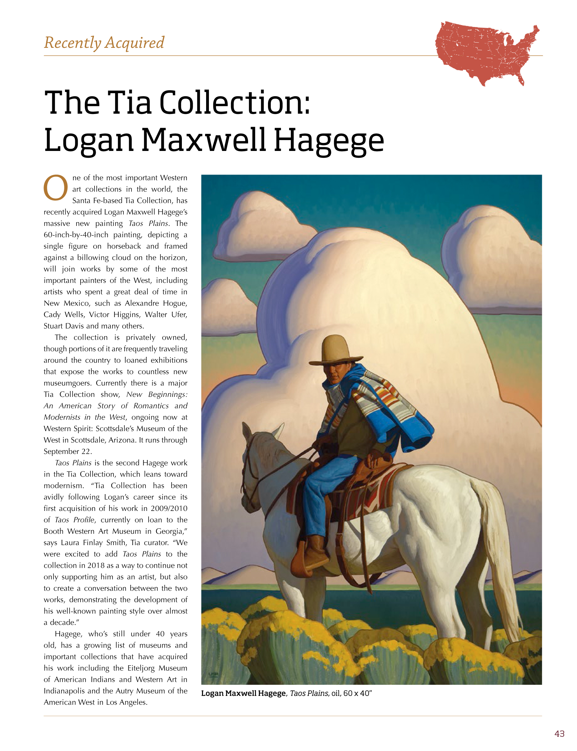 ARTICLE FEATURED IN WESTERN ART COLLECTION MAGAZINE APRIL 2019