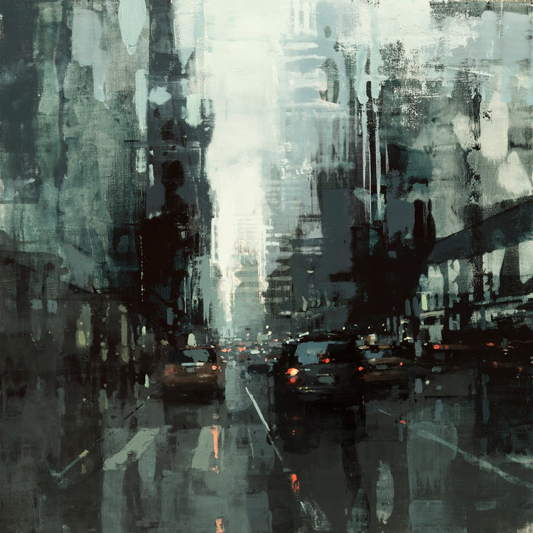 """(SOLD) """"NYC in Grey and Green #2"""" 18""""x18"""" Oil"""