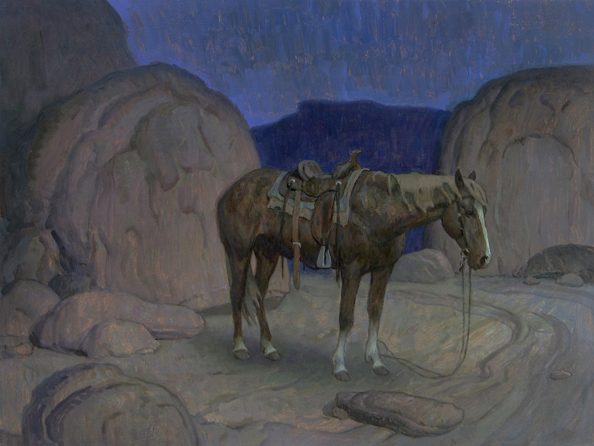 "(SOLD) ""Lost Pony Nocturne"" 12""x16"" Oil"