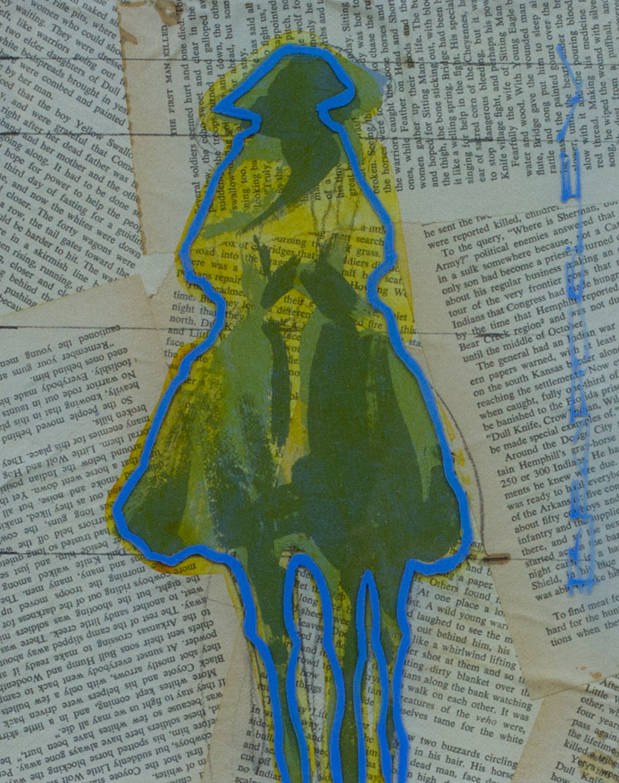 "Duke Beardsley""Vaquero Pequeño Aquatico - Citron""10 x 8 inchesMixed media and epoxy resin on collaged canvas"