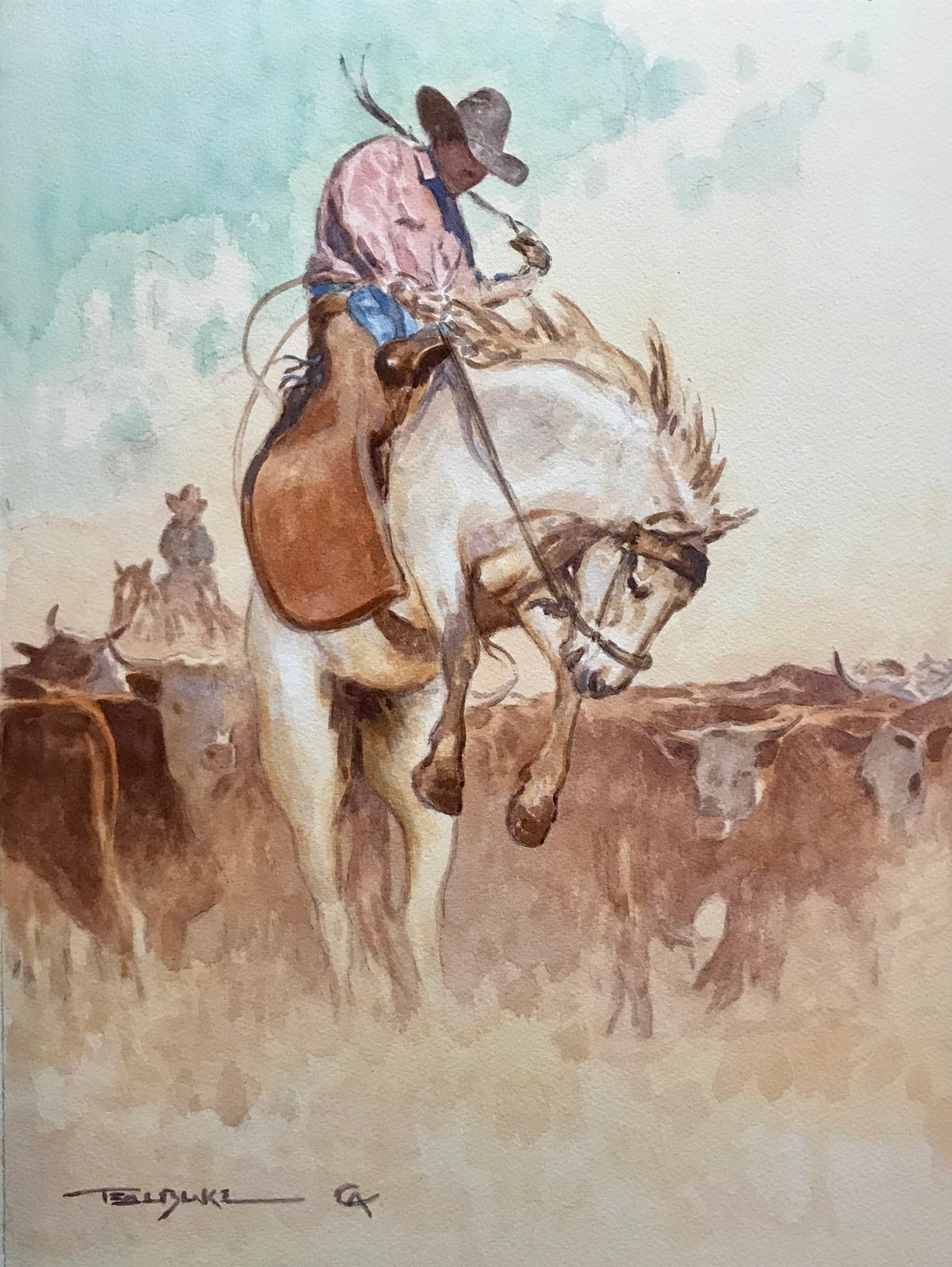 """(SOLD) Teal Blake """"The Bronc Twister """" 15.5""""x17.75"""" Watercolor"""