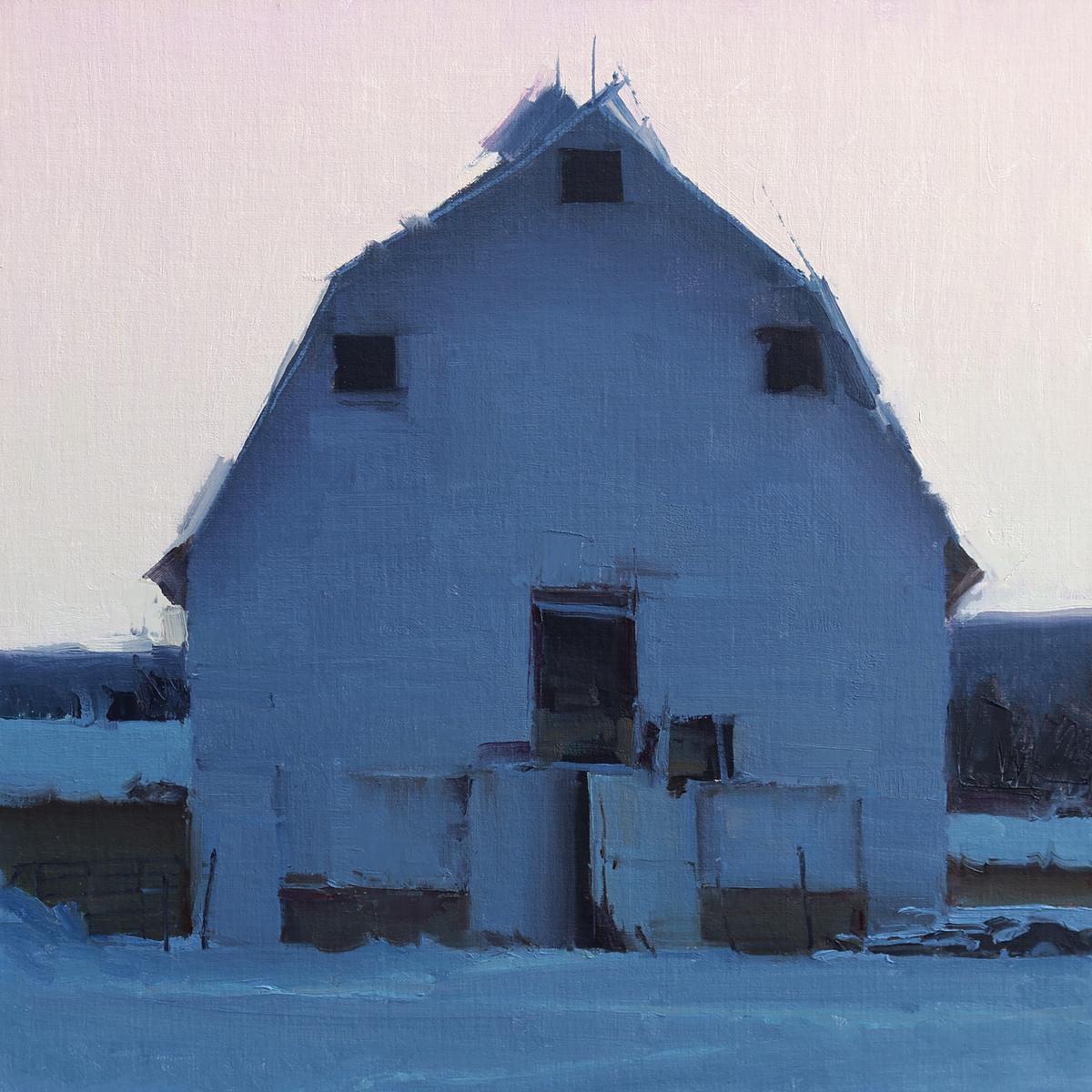 """(SOLD) David Dibble """"Eden Barn""""14 x 14""""Oil"""