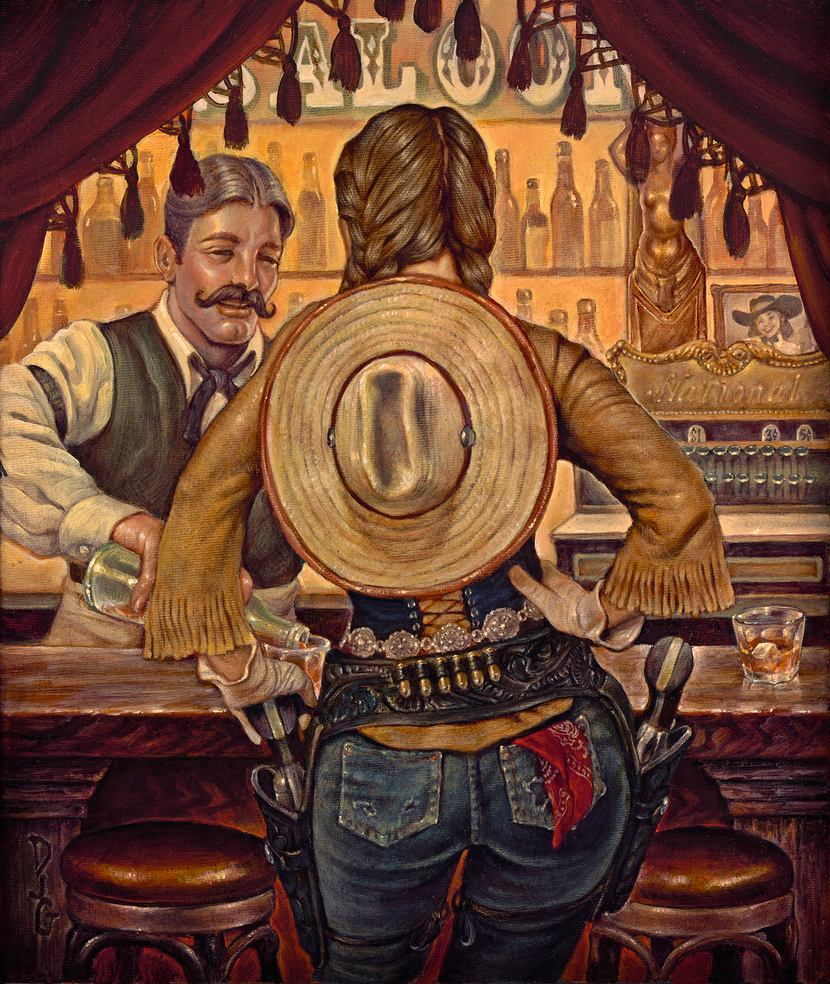 """(SOLD) Danny Galieote """"Double Whiskey Please"""" """"13.25"""" x 11.25""""Oil"""