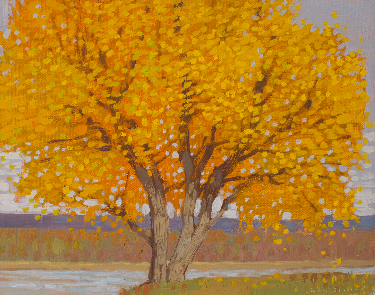 """(SOLD) David Grossmann """"Autumn Cottonwood and River View""""8"""" x 10"""" Oil"""