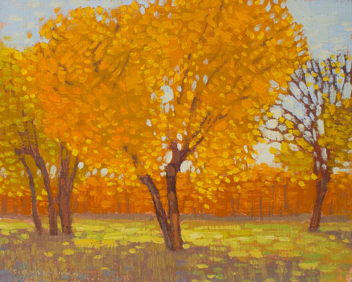 """David Grossmann """"Cottonwoods in Autumn Light""""8"""" x 10"""" Oil on Panel"""