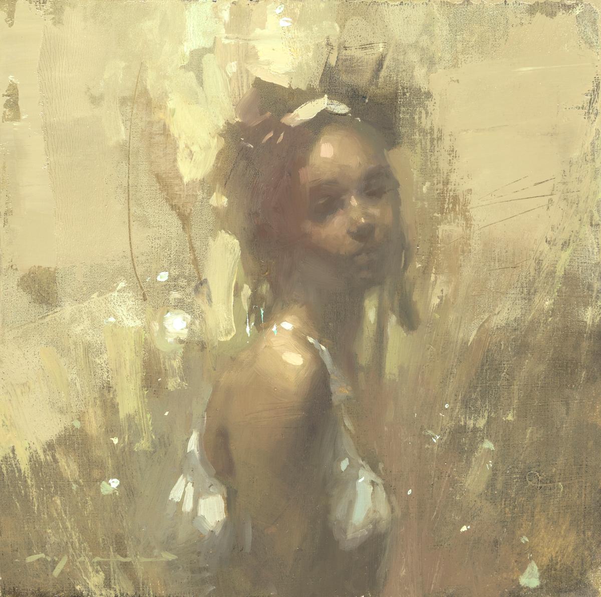 """(SOLD) Jeremy Mann """"Portrait Study #26"""" 6""""x6"""" Oil"""